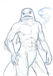 Sketch of Tatsk the Shark God by Jennifer  Broschinsky